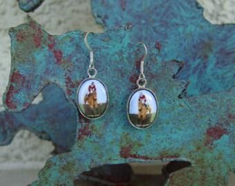 Hunter Jumper Enamel Earrings Sterling Silver,Equestrian Jewelry,Horse Jewelry