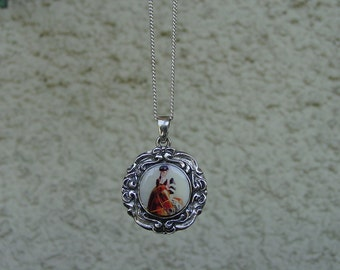 Affirmed Horse Racing Enamel Pendant Sterling Silver with Chain,Equestrian jewelry,Horse Jewelry