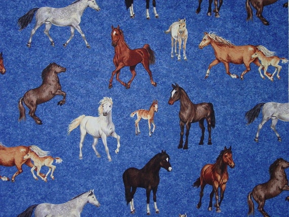 Custom Listing for Denise Horse- Mares & Foals - Forest Horses Makower UK cotton fabric 5 Yards Equestrian Fabric Blue