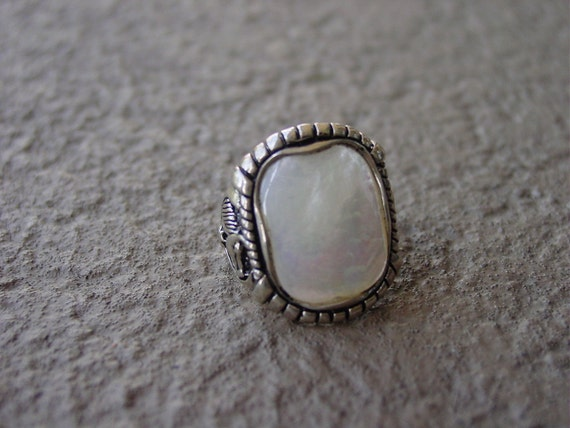 Mother of Pearl Gemstone Equestrian Horse Ring Sterling Silver Size 8 and 9 available,Equestrian Jewelry