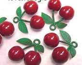 3 Huge Juicy Cherry Plastic Charms. Red