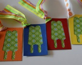 Gift Tags with Popcicle Punched Out of It Set of 6 Square Shape