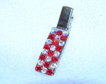 Swarvoski Crystal Hair Clip Red and Clear