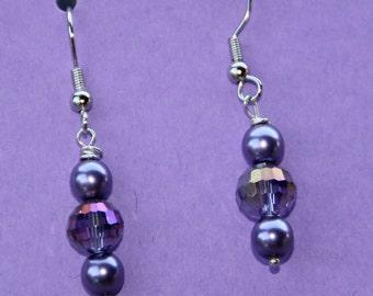 Lavendar Purple Dangle Czech Glass Earrings