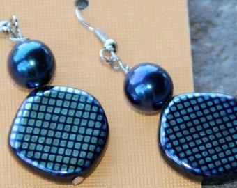 Blue Round Dangle Earrings