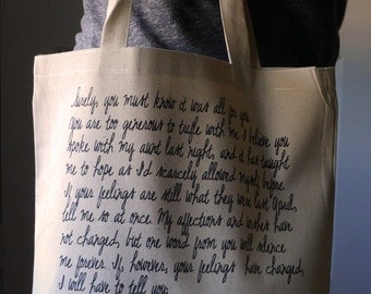 Pride and Prejudice Tote bag, Jane Austen tote bag, Pride and Prejudice, Mr. Darcy proposal