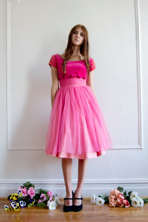 RESERVED Pink Dress with Velvet Top XS/S