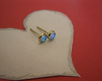 Blue Opal - 14k Gold Post Earrings
