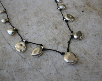 Pure Silver Nuggets on Black Cord Necklace - OOAK