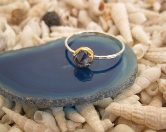 Light Blue Aquamarine Blue Topaz  Zircon Gold Bezel and Silver Stacking ring
