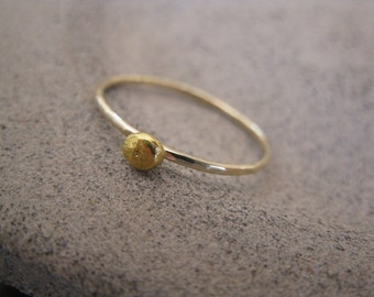 14K Gold  and 24K Gold Nugget Stacking Ring