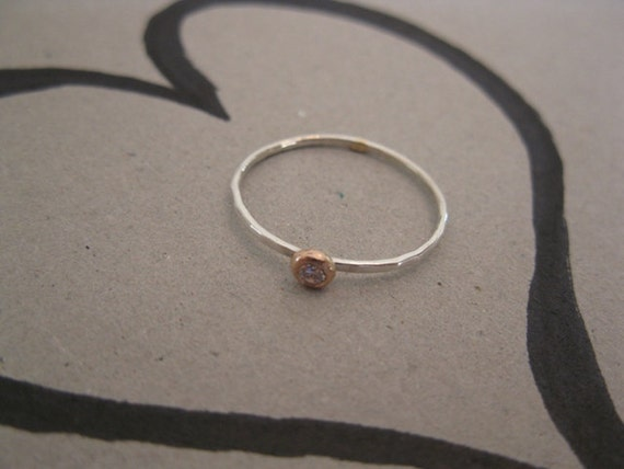 14K Red Gold and Silver with white or Garnet red Zircon Stacking Ring