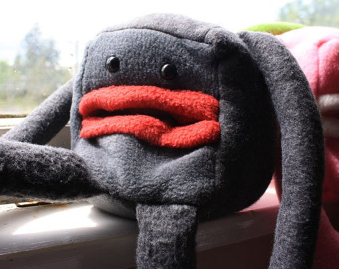"Grey "" Pocket Mouth Monster"" Plushie"