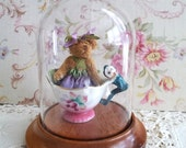 Tiny Rare Vintage Teacup with Elf Handle and a Dressed Teddy Bear Inside Glass Dome Included