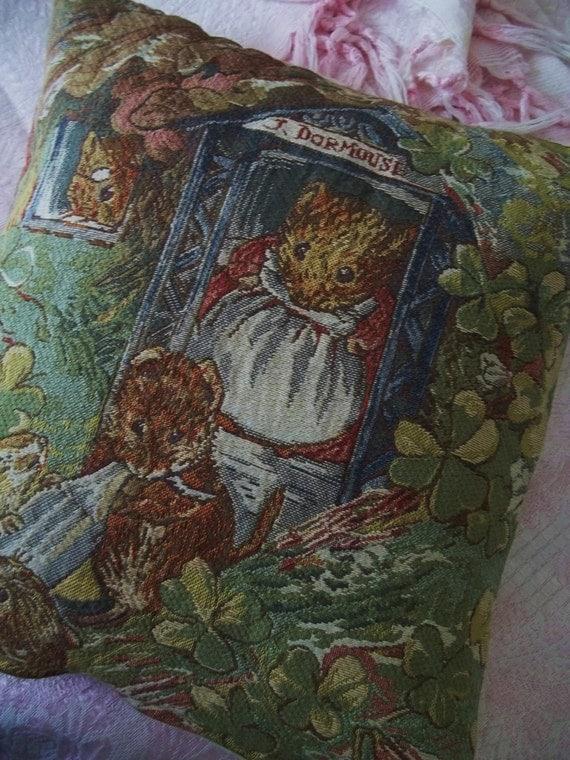 Vintage Beatrix Potter Tapestry Pillow Cover J. Dormouse