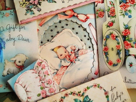 Antique Baby Shower Cards Gift Tags Lot 1940s (Set 5)