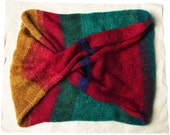 Red Teal Gold Warm Mohair Shoulder and Neck Wrap