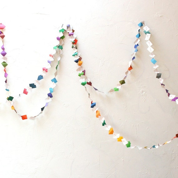Art Paper Garland - Whimsical Colorful Recycled Repurposed - 5 y. (4.58m) with purple sequins