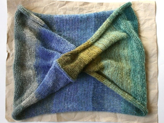 Rocky River Wrap Shawl Cowl- with moss on the boulders, watch your step
