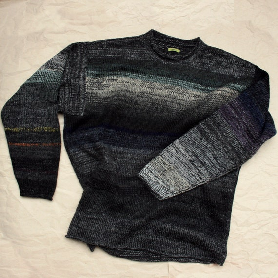 Charcoal Black XL Mens Knit Cotton Tape and Kid Mohair Sweater