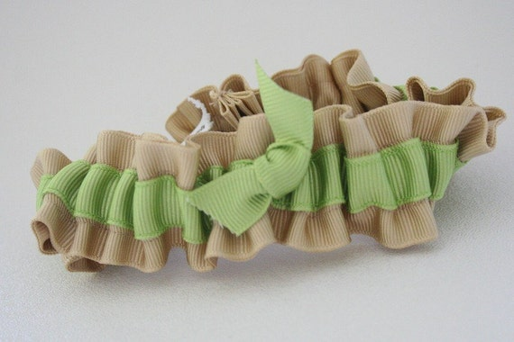 Wedding Garter - Natural and Green Eco Friendly Bridal Garter - Discount Clearance Sale