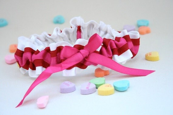 Wedding Garter - White, Red and Pink Valentine's Day Bridal Garter - Discount Clearance Sale