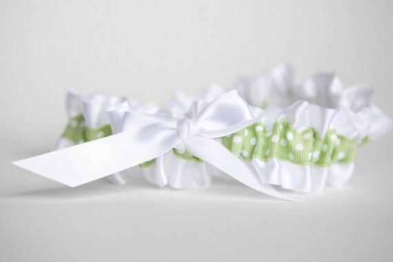 Wedding Garter -  Green and White Polka Dot Bridal Garter - Discount Clearance Sale
