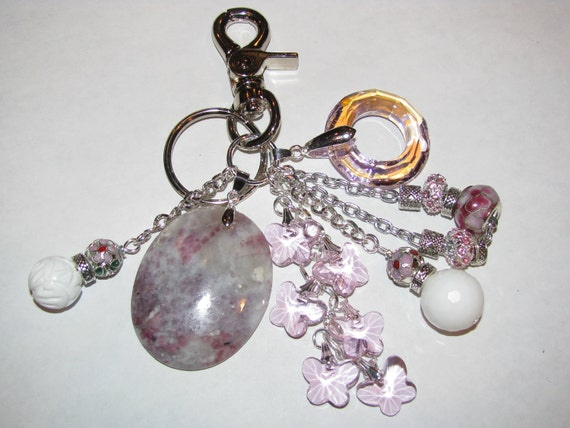 New Pink & White Gemstone, Crystal, and Cloisonne Purse Charm Key Ring Chain