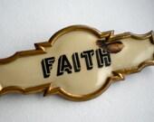 "Antique Masonic Brass Bar Pin Badge ""Faith"""