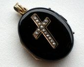 SALE Victorian Locket Black Enamel Mourning Cross
