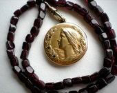 SALE Art Nouveau Locket Garnet Beaded Necklace