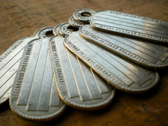 LAST ONE 3pc Vintage Tags Silver Metal Id Fob (A)