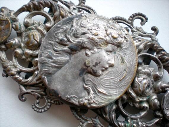 Antique Belt Buckle Victorian Nouveau Goddess