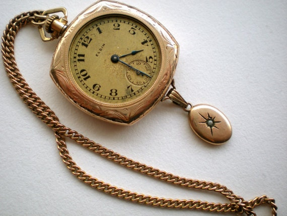 SALE Antique Elgin Watch Gold Seed Pearl Victorian