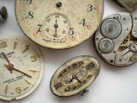 Antique 10pc Watch Parts Movements Faces