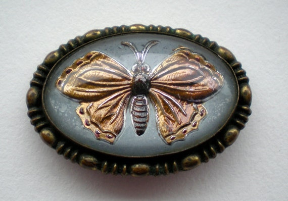 Vintage Glass Butterfly Brooch Intaglio Pin