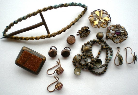 13pc Antique Victorian Jewelry Parts Pieces Salvage Lot