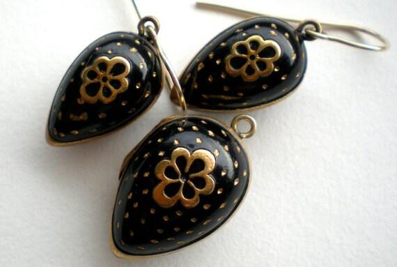 Antique Black Enamel Locket Earrings Set