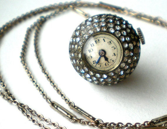 Antique 1920s Art Deco Rhinestone Watch Pendant Necklace Non-Working