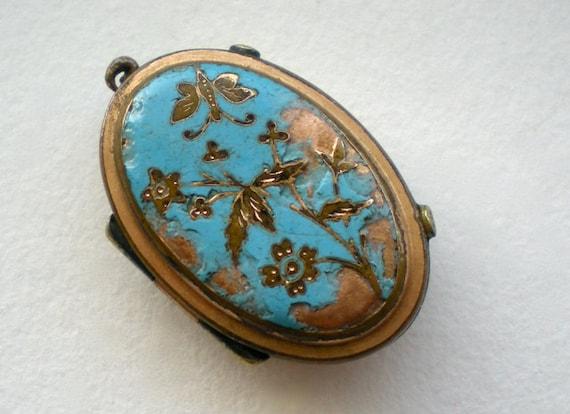 Antique Victorian Butterfly Locket Enamel Flower Flawed