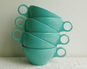 Vintage Aqua Melmac Coffee Cups - Set of Six