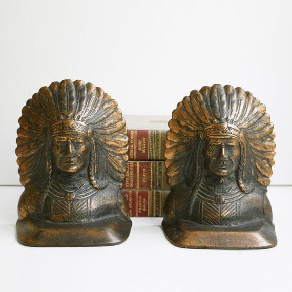 Vintage Cast Bronze Indian Head Bookends Copper Finish