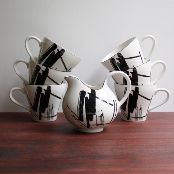 Vintage Sango Coffee Cups and Creamer by Larry Laslo / Calligraphy Pattern Black and White