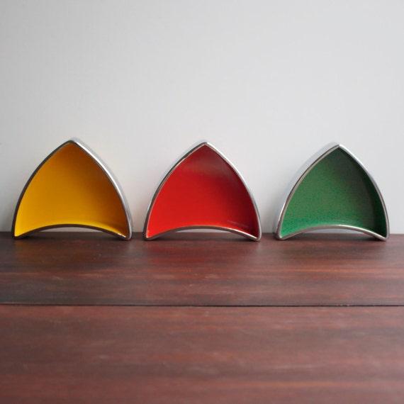 RESERVED FOR JUDI Vintage Melamine Dishes / Triangular Stacking / Yellow, Orange, Green