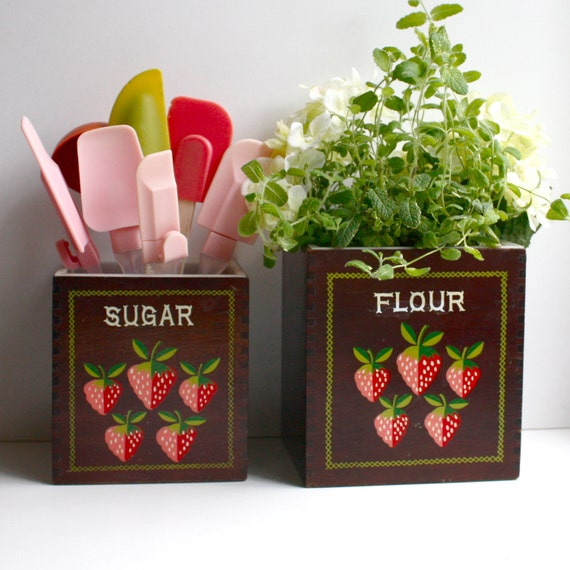 Vintage Wood Canisters with Strawberry Motif - Woodcrest by Styson Made in Japan