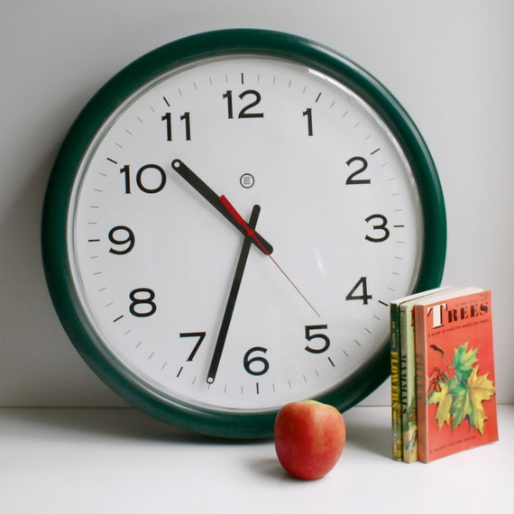Vintage Large Wall Clock with Green Metal Case by Peter Pepper Products