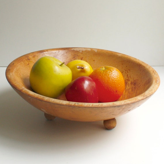 Vintage Footed Wooden Bread Bowl