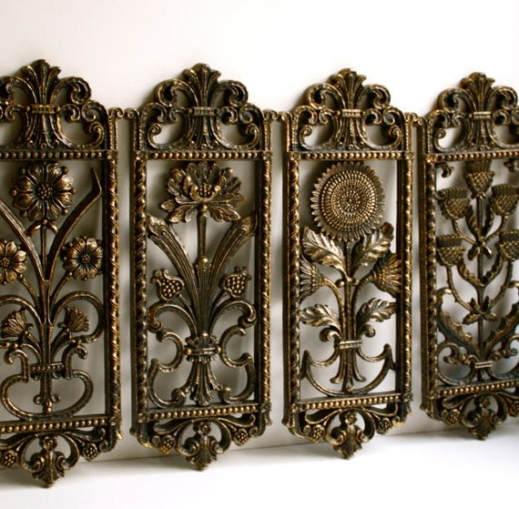 Vintage  Floral Wall Plaques by Homco - Set of Four