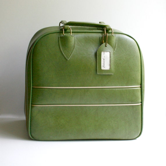 Vintage Bowling Bag / Travel Bag - Avocado Green