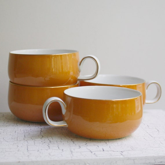 Vintage Sango Teacups / Coffee Cups  - Orange and White - Set of Four Made in Japan